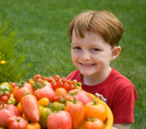 Boy and Tomatoes
